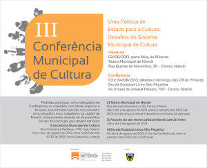 Convite  - III Conferência Municipal de Cultura de Niterói.